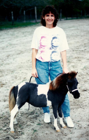 Jackie and black pinto miniature horse weanling.